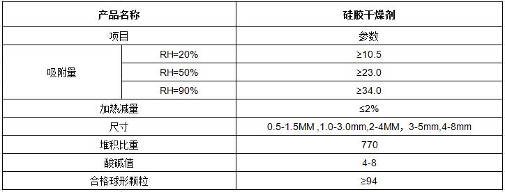 硅胶干燥剂型号参数